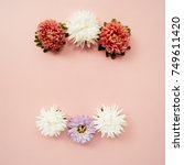floral frame made of white ... | Shutterstock . vector #749611420