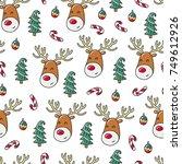doodles christmas seamless... | Shutterstock .eps vector #749612926
