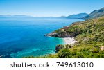 the perfect secret beach  white ... | Shutterstock . vector #749613010