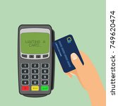 wireless payment concept. pos... | Shutterstock .eps vector #749620474