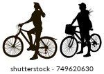 girl on a bike silhouettes | Shutterstock .eps vector #749620630