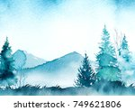 watercolo winter landscape | Shutterstock . vector #749621806