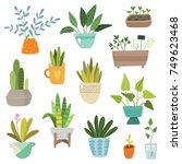 hand drawn plants set | Shutterstock .eps vector #749623468