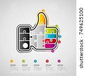 five options social media... | Shutterstock .eps vector #749625100