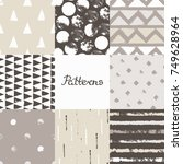 set of seamless patterns with... | Shutterstock .eps vector #749628964