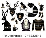 christmas set of animals in... | Shutterstock .eps vector #749633848