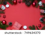 christmas  new year red stylish ... | Shutterstock . vector #749634370