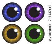 iris eye realistic  vector set ... | Shutterstock .eps vector #749637664