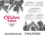 christmas menu.  restaurant and ... | Shutterstock .eps vector #749639080