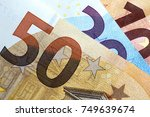 close up of colorful euro money.... | Shutterstock . vector #749639674