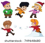 in the winter  kids play in the ... | Shutterstock .eps vector #749648680