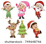 set of cute kid in christmas... | Shutterstock .eps vector #749648746
