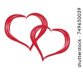 doodle love two hearts isolated ... | Shutterstock .eps vector #749650039
