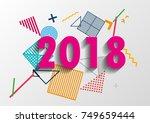 happy new year 2018 vector... | Shutterstock .eps vector #749659444