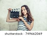 young pretty woman actress... | Shutterstock . vector #749662069