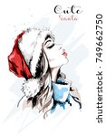 stylish hand drawn woman... | Shutterstock .eps vector #749662750