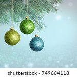 merry christmas and happy new... | Shutterstock . vector #749664118