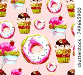 sweet seamless pattern with... | Shutterstock . vector #749665900
