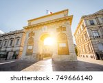 street view with triumphal arch ... | Shutterstock . vector #749666140