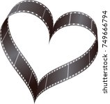 film reel in heart shape  | Shutterstock .eps vector #749666794