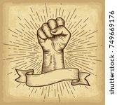 hand drawn hand gesture. fist... | Shutterstock .eps vector #749669176