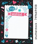 stylish inspirational wishlist... | Shutterstock .eps vector #749669458