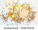 greeting form among the golden... | Shutterstock . vector #749670370