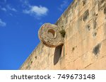 a stone ballcourt goal used by... | Shutterstock . vector #749673148
