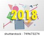 happy new year 2018 vector... | Shutterstock .eps vector #749673274