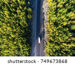 top view at white freight truck ... | Shutterstock . vector #749673868
