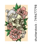 skull with red peonies or roses ...