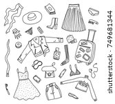 hand drawn doodle baggage set.... | Shutterstock .eps vector #749681344