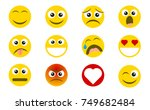 abstract funny flat style emoji ... | Shutterstock .eps vector #749682484
