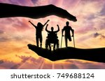 happy people with disabilities... | Shutterstock . vector #749688124