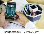 Small photo of A businessman man holding a smartphone and viewing Forex trading online. The foreign exchange market (Forex, FX, or currency market) is a global decentralized or over-the-counter (OTC) market.