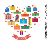 gift boxes. presents with bows... | Shutterstock .eps vector #749690326