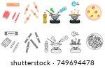 recipe spaghetti sausage vector ... | Shutterstock .eps vector #749694478