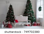 large white living room with a... | Shutterstock . vector #749702380