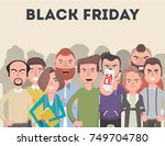 a crowd of people are waiting... | Shutterstock .eps vector #749704780