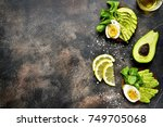 avocado toast with rye bread... | Shutterstock . vector #749705068