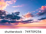 burning skies fiery backdrop  | Shutterstock . vector #749709256
