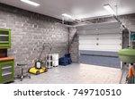 garage interior 3d illustration   Shutterstock . vector #749710510