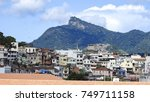 view of favelas and christ the... | Shutterstock . vector #749711158