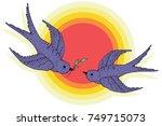 swift birds vector hand drawn...   Shutterstock .eps vector #749715073