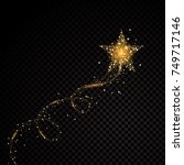 gold glittering spiral star... | Shutterstock .eps vector #749717146