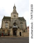 Small photo of Banbury Town Council Building with 'Hands off our Horton' banner, Oxfordshire, UK, 5th November 2017