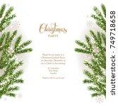 green fir tree branches.... | Shutterstock .eps vector #749718658