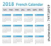 2018 french european calendar.... | Shutterstock .eps vector #749718919