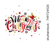 merry christmas colorful hand... | Shutterstock .eps vector #749724520