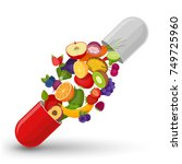 medical capsule with fruit and... | Shutterstock .eps vector #749725960